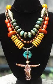 Tibetan Turquoise Saffron Amber & Bronze Bull <b>Skull</b> Statement ...
