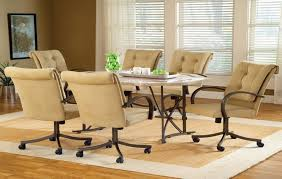 casual dining chairs with casters: image of dining chairs with casters used