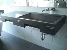 blue concrete basins bathroom small angular white concrete trough sinks
