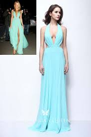 <b>Sexy</b> Halter Plunging <b>Cut Out Blue</b> Chiffon Prom Dress - VQ