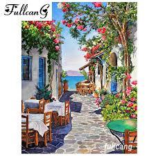 <b>FULLCANG</b> full square mosaic waterfall house <b>5d diamond</b> painting ...
