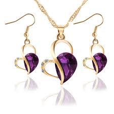 Gold Color <b>Water</b> Drop Cubic Zirconia Necklace Earrings <b>Fashion</b> ...