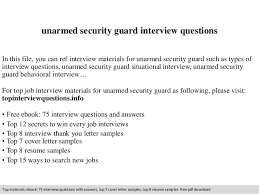 unarmed security guard interview questionsunarmed security guard interview questions in this file  you can ref interview materials for unarmed