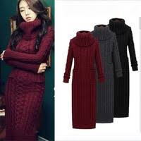 4 <b>Color</b> Fashion <b>Autumn Winter</b> women's <b>wool</b> dress thickening knit ...