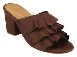 BLUE BAKSA Women's Ruffle Detail <b>Block Heel Mules Fashion</b> ...