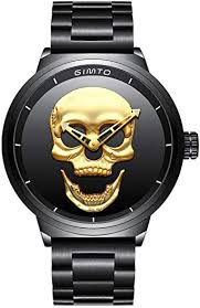 GIMTO <b>Creative 3D Skull</b> Men's Watch Cool Stainless Steel Big Dial ...