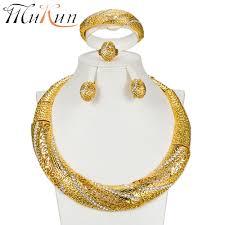 wholesale luxury nigerian women wedding jewelry sets big chunky necklace earrings bridal dubai gold african beads set