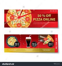 pizza coupon discount template flat design stock vector  pizza coupon discount template flat design