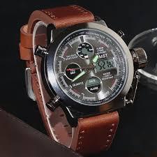 AMST Military <b>Watches</b> Dive <b>50M</b> Nylon&Leather Strap LED ...
