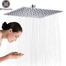 <b>Chrome</b> 16 inch Square <b>Rainfall</b> Shower Head Ultrathin Stainless ...