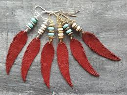 <b>Red feather</b> earrings. Leather feather earrings. Gemstone   Etsy