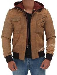 Mens <b>Leather Jacket With Hood</b>