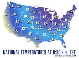 Image result for USA MAP breaking record temps freezing snow 2015