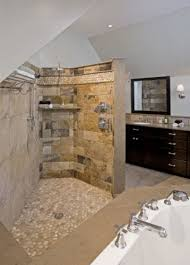spa bathroom showers: idea for down guest bath natural simplicity in chester springs pa new barrier free open spa shower featuring island stone floor and border with slate