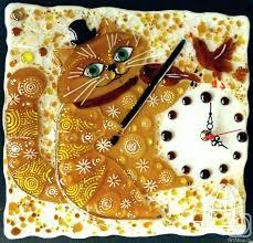 """<b>Настенные часы</b> """"Романтик"""" стекло, фьюзинг» изделие из ..."""