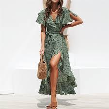 <b>Women Floral Print</b> Boho Long <b>Chiffon Dress</b> – SunLify