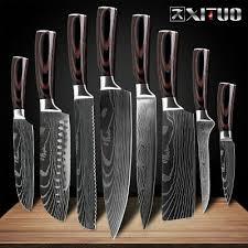 Japanese Santoku <b>Kitchen knives Laser Damascus</b> pattern chef ...