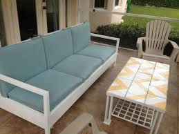white wooden outdoor couch with back and armrest having blue seat cushions set added captivating design patio ideas diy