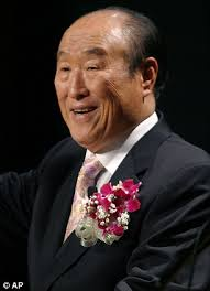 The Rev Sun Myung Moon, the self-proclaimed messiah who turned his Unification Church into a worldwide religious movement and gained fame and notoriety in ... - article-2197242-14CE7F53000005DC-699_306x423