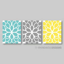 ideas teal blue flower wall art teal blue yellow gray by rhondavousdesigns