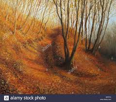 An oil painting on <b>canvas</b> of a silent autumn <b>afternoon</b> in a colorful ...