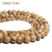 Celadon Brown Round Picture Stone Beads <b>Natural Stone</b> Beads ...
