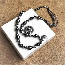 Silver <b>freshwater pearl</b> and hematite <b>necklace</b> with <b>real</b> silver <b>pendant</b>