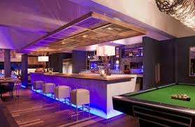 overhead recessed and low level colored led lighting bar lighting ideas