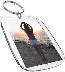 Clear <b>Blank</b> Acrlyic Keyrings (50 x 35 mm, <b>5 pcs</b>) For Passport Photo ...