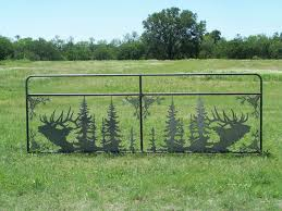 tree scene metal wall art: gate with elk and tree scene