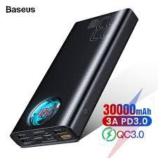 <b>Baseus 30000mAh Power Bank</b> USB C PD Quick Charge 3.0 30000 ...