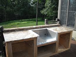 Countertop For Outdoor Kitchen Black Canopy Near Dining Table Set Granite Countertops Polished