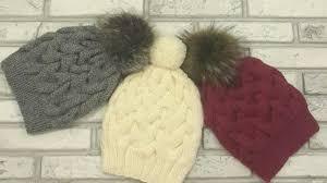 Модная, красивая <b>шапка</b> с <b>косами</b> спицами.Без шва.Вязание ...