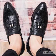 Black Tassels Croc <b>Mens Pointed Head</b> Loafers Dress Dapper Man ...