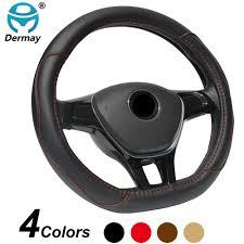 DERMAY <b>D Shape Microfiber</b> Leather Car Steering Wheel Cover ...
