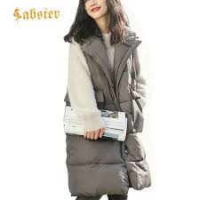 New <b>Autumn Winter Women Vest</b> Long Sleeveless Coat Cotton ...