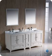 traditional style antique white bathroom:  antique white finish oxford quot double sink traditional bathroom vanity