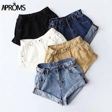 <b>Aproms</b> Casual Blue Denim Shorts Women Sexy High Waist Buttons ...