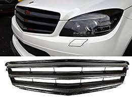 Deltalip Carbon Fiber B Style Front Grille For <b>Mercedes Benz C</b> ...