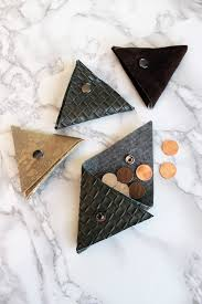 FREE Leather DIY Wallet Pattern - No Sew <b>Triangular</b> Coin Pouch ...