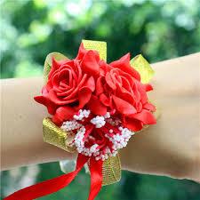 Pearl Beaded <b>Wrist Corsage</b> Wedding Ivory Artificial <b>Flowers</b> Bracel ...