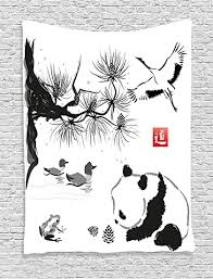 Buy Ambesonne Asian Decor Collection, Bird Cedar <b>Panda</b> Bear ...