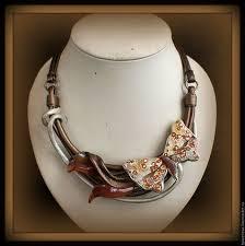 <b>Колье</b> из кожи Бабочка с орхидеями, 415   Кожаные ювелирные ...