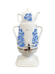 Самовар 4 л и керамический <b>заварочный чайник 1 л</b> Голубой ...