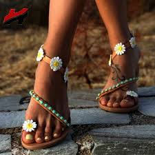 NAN JIU MOUNTAIN <b>Summer Flat Sandals Women</b> Bohemian ...