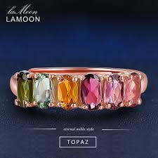 LAMOON <b>100</b>% <b>Real</b> Natural Oval Multi-color Tourmaline <b>925</b> ...