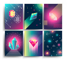 Abstract <b>trendy</b> vector <b>cosmic</b> posters with <b>crystal</b> gems and pyramid ...