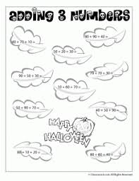 Halloween Addition and Subtraction Worksheets - Woo! Jr. Kids ...Adding 3 Numbers (Multiples of Ten) Halloween Math Worksheet