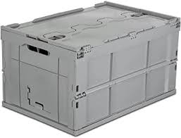 Mount-It! <b>Folding Plastic Storage Crate</b>, Collapsible Utility ...