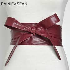 <b>RAINIE SEAN</b> Pin Buckle Leather Belts For Jeans Burgundy Thin ...